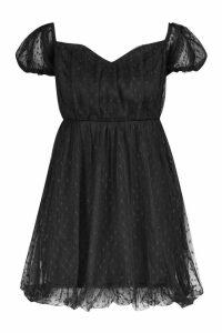 Womens Dobby Mesh Sweetheart Neck Skater Dress - black - 16, Black