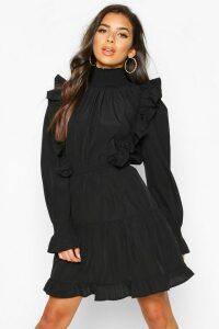 Womens Shirred High Neck Ruffle Midi Skater Dress - black - 16, Black