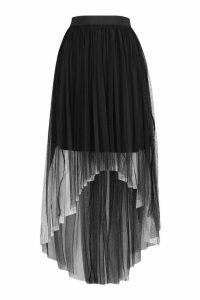 Womens Dip Hem Tulle Maxi Skirt - black - 14, Black