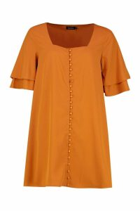 Womens Woven Double Frill Sleeve Shift Dress - yellow - 12, Yellow