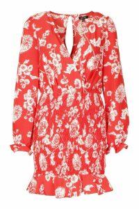 Womens Floral Print Shirred Skirt Mini Dress - 16, Red