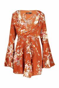 Womens Floral Print Plunge Front Twist Shift Dress - orange - 16, Orange
