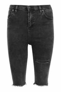Womens High Rise Acid Wash Distressed Denim Cycle Shorts - black - 16, Black