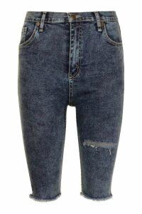 Womens High Rise Acid Wash Distressed Denim Cycle Shorts - blue - 8, Blue