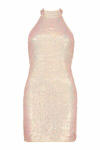 Womens Halter Neck Sequin Bodycon Mini Dress - metallics - 14, Metallics