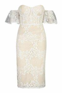 Womens Embroidered Off Shoulder Midi Dress - white - 16, White