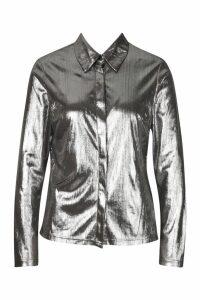 Womens Metallic Wrap Front Ruched Mini Skirt - grey - 14, Grey