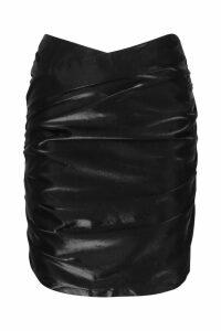 Womens Metallic Ruched Wrap Front Mini Skirt - black - 14, Black
