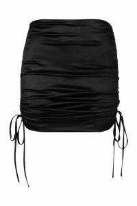 Womens Ruched Stretch Satin Mini Skirt - black - 14, Black