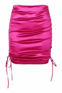 Womens Ruched Stretch Satin Mini Skirt - pink - 14, Pink