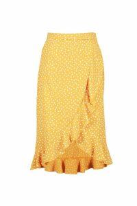 Womens Polka Dot Ruffle Midi Skirt - yellow - 16, Yellow
