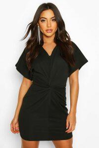Womens Crepe Twist Front Mini Dress - black - 14, Black