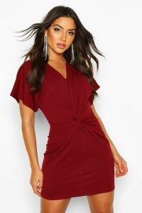 Womens Crepe Twist Front Mini Dress - red - 14, Red
