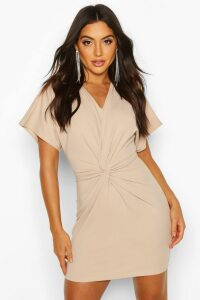Womens Crepe Twist Front Mini Dress - beige - 14, Beige