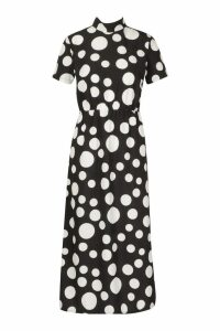Womens Woven Spot High Neck Midaxi Dress - black - 16, Black