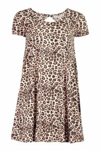 Womens Leopard Print Jersey Swing Dress - multi - XS, Multi
