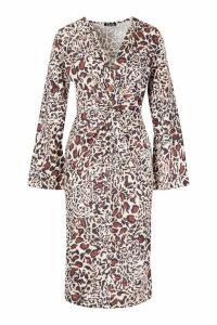 Womens Woven Plunge Knot Leopard Midi Dress - beige - 16, Beige