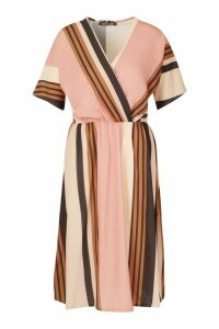 Womens Stripe Belted Wrap Midi Dress - Pink - 16, Pink