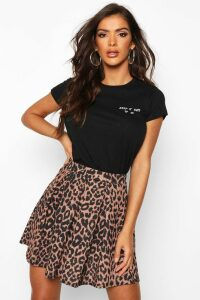 Womens Leopard Print Box Pleat Skater Skirt - brown - 6, Brown