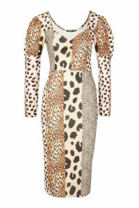Womens Mixed Animal Print Square Neck Bodycon Midi Dress - white - 16, White