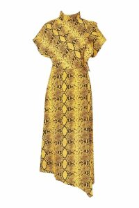 Womens High Neck Ruffle Front Snake Midi Dress - yellow - 16, Yellow