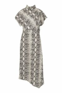 Womens High Neck Ruffle Front Snake Midi Dress - beige - 14, Beige