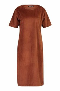 Womens Cord Cap Sleeve Midi Dress - brown - 16, Brown