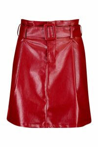 Womens Leather Look Belted Mini Skirt - red - 16, Red