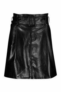 Womens Leather Look Belted Mini Skirt - black - 12, Black