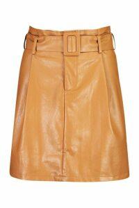 Womens Leather Look Belted Mini Skirt - beige - 16, Beige