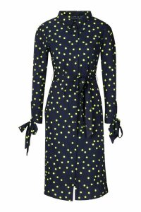 Womens Woven Neon Spot Midi Shirt Dress - navy - 12, Navy
