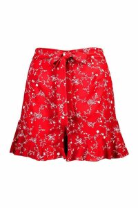 Womens Ditsy Print Ruffle Short - red - 8, Red