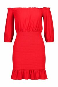 Womens Off Shoulder 3/4 Sleeve Shirred Bodycon Mini Dress - 10, Red
