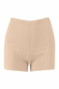 Womens Jumbo Rib Mini Cycling Shorts - beige - 14, Beige