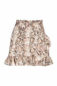 Womens Tall Snake Print Ruffle Wrap Mini Skirt - beige - 12, Beige