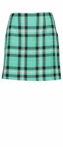 Womens Checked Woven A Line Mini Skirt - green - 10, Green