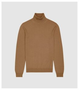 Reiss Caine - Merino Wool Rollneck in Camel, Mens, Size XXL