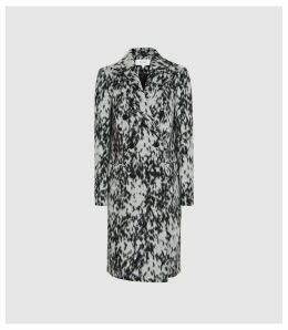 Reiss Dala - Double Breasted Animal Print Coat in Multi, Womens, Size 14