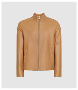 Reiss Aquila - Leather Funnel Neck Jacket in Butterscotch, Mens, Size XXL