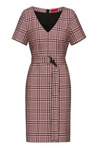 Pencil dress in checked stretch fabric with D-ring belt