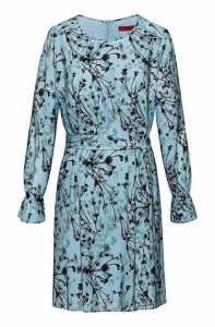 Belted tunic dress with thistle print