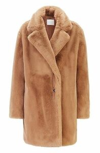Oversized-fit double-breasted coat in faux fur