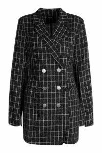 Womens Button Front Split Sleeve Blazer Dress - black - 16, Black