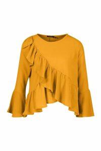 Womens Ruffle Flute Sleeve Smock Top - yellow - 16, Yellow