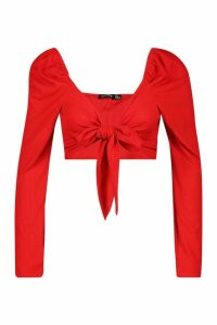 Womens Puff Shoulder Tie Front Top - red - 16, Red