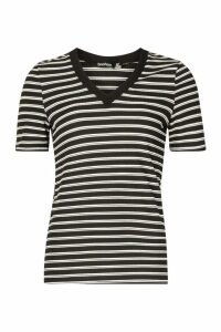 Womens V Neck Stripe Rib T-Shirt - black - 14, Black