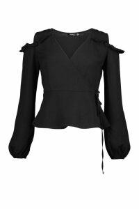 Womens Ruffle Cold Shoulder Wrap Blouse - black - 14, Black