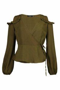 Womens Ruffle Cold Shoulder Wrap Blouse - green - 12, Green