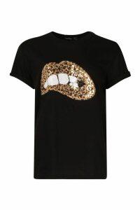 Womens Sequin Lip Print T-Shirt - black - 12, Black