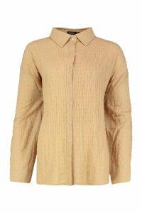Womens Shirred Oversized Shirt - beige - 16, Beige
